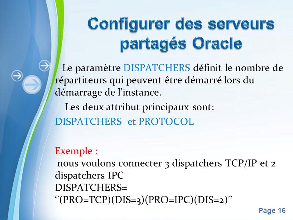 Pour plus de modèles : Modèles Powerpoint PPT gratuitsModèles Powerpoint PPT gratuits Page 16 Le paramètre DISPATCHERS définit le nombre de répartiteurs qui peuvent être démarré lors du démarrage de linstance.