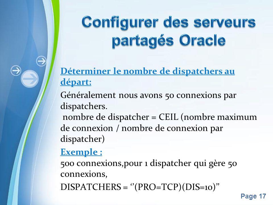 Pour plus de modèles : Modèles Powerpoint PPT gratuitsModèles Powerpoint PPT gratuits Page 17 Déterminer le nombre de dispatchers au départ: Généralement nous avons 50 connexions par dispatchers.