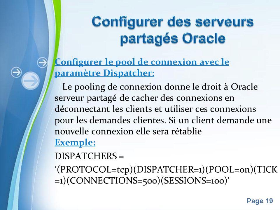 Pour plus de modèles : Modèles Powerpoint PPT gratuitsModèles Powerpoint PPT gratuits Page 19 Configurer le pool de connexion avec le paramètre Dispatcher: Le pooling de connexion donne le droit à Oracle serveur partagé de cacher des connexions en déconnectant les clients et utiliser ces connexions pour les demandes clientes.