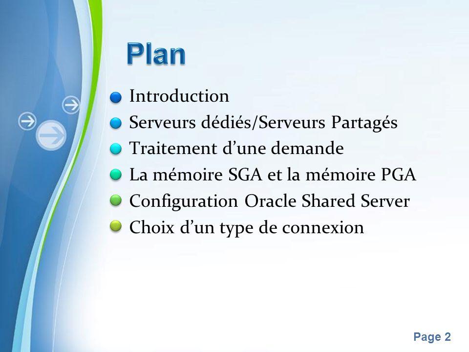 Pour plus de modèles : Modèles Powerpoint PPT gratuitsModèles Powerpoint PPT gratuits Page 2 Introduction Serveurs dédiés/Serveurs Partagés Traitement dune demande La mémoire SGA et la mémoire PGA Configuration Oracle Shared Server Choix dun type de connexion