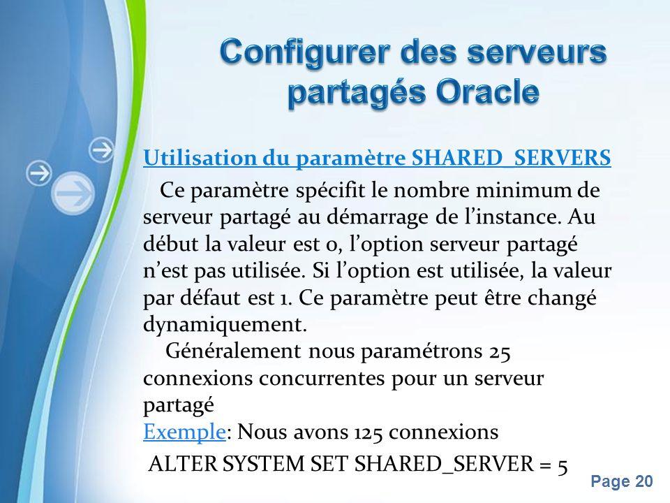 Pour plus de modèles : Modèles Powerpoint PPT gratuitsModèles Powerpoint PPT gratuits Page 20 Utilisation du paramètre SHARED_SERVERS Ce paramètre spécifit le nombre minimum de serveur partagé au démarrage de linstance.