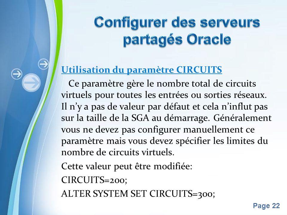 Pour plus de modèles : Modèles Powerpoint PPT gratuitsModèles Powerpoint PPT gratuits Page 22 Utilisation du paramètre CIRCUITS Ce paramètre gère le nombre total de circuits virtuels pour toutes les entrées ou sorties réseaux.
