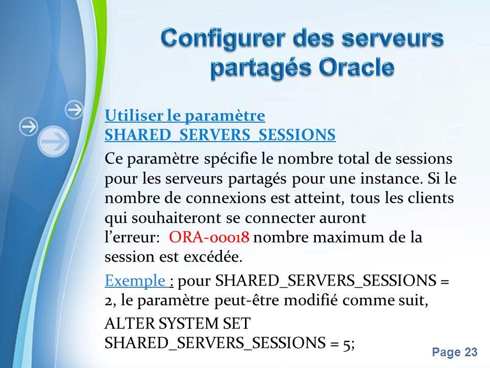 Pour plus de modèles : Modèles Powerpoint PPT gratuitsModèles Powerpoint PPT gratuits Page 23 Utiliser le paramètre SHARED_SERVERS_SESSIONS Ce paramètre spécifie le nombre total de sessions pour les serveurs partagés pour une instance.