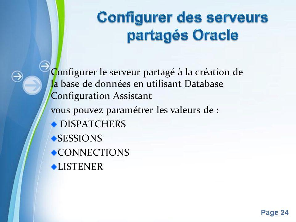 Pour plus de modèles : Modèles Powerpoint PPT gratuitsModèles Powerpoint PPT gratuits Page 24 Configurer le serveur partagé à la création de la base de données en utilisant Database Configuration Assistant vous pouvez paramétrer les valeurs de : DISPATCHERS SESSIONS CONNECTIONS LISTENER