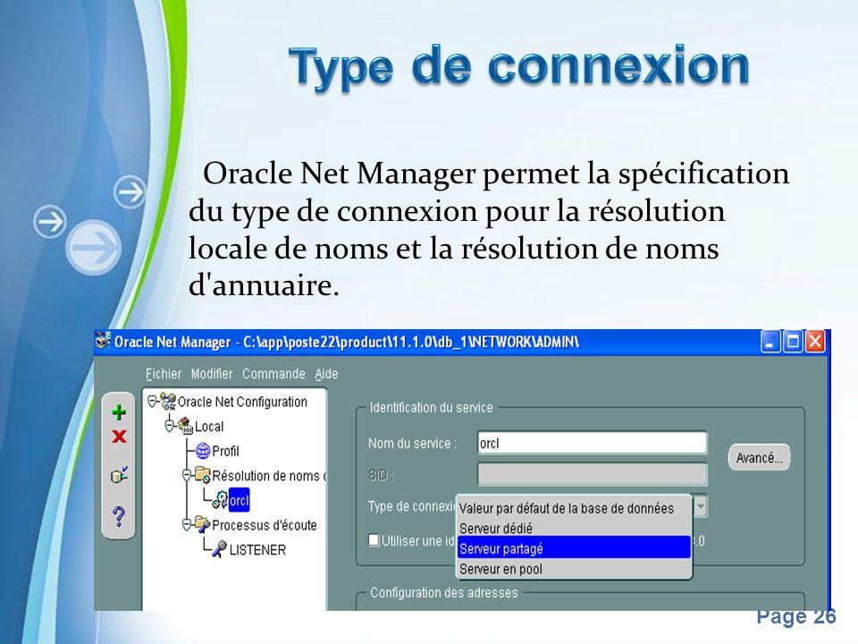 Pour plus de modèles : Modèles Powerpoint PPT gratuitsModèles Powerpoint PPT gratuits Page 26 Oracle Net Manager permet la spécification du type de connexion pour la résolution locale de noms et la résolution de noms d annuaire.