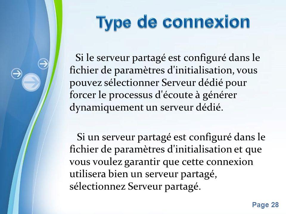 Pour plus de modèles : Modèles Powerpoint PPT gratuitsModèles Powerpoint PPT gratuits Page 28 Si le serveur partagé est configuré dans le fichier de paramètres d initialisation, vous pouvez sélectionner Serveur dédié pour forcer le processus d écoute à générer dynamiquement un serveur dédié.