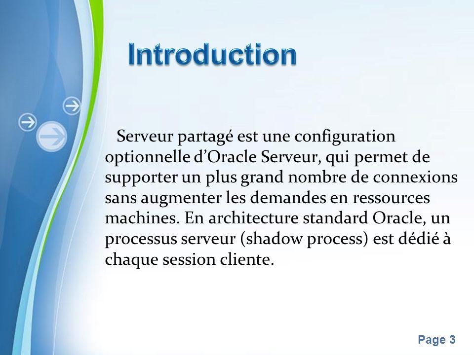 Pour plus de modèles : Modèles Powerpoint PPT gratuitsModèles Powerpoint PPT gratuits Page 3 Serveur partagé est une configuration optionnelle dOracle Serveur, qui permet de supporter un plus grand nombre de connexions sans augmenter les demandes en ressources machines.