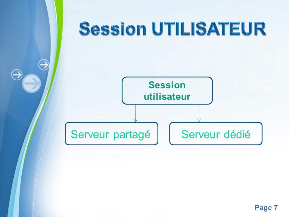 Pour plus de modèles : Modèles Powerpoint PPT gratuitsModèles Powerpoint PPT gratuits Page 7 Session utilisateur Serveur dédiéServeur partagé
