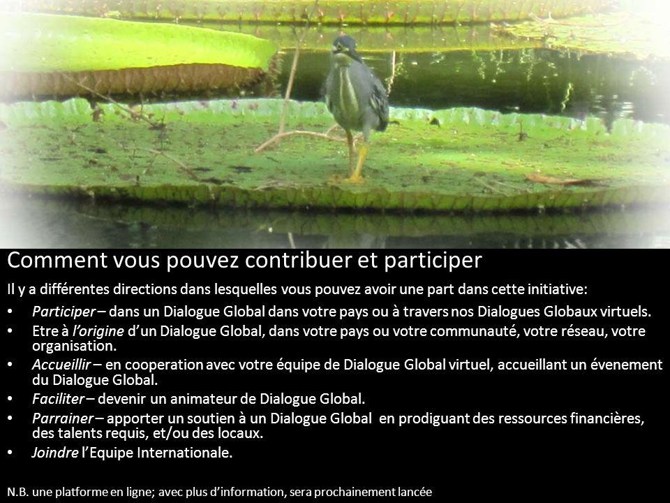 Comment vous pouvez contribuer et participer Il y a différentes directions dans lesquelles vous pouvez avoir une part dans cette initiative: Participer – dans un Dialogue Global dans votre pays ou à travers nos Dialogues Globaux virtuels.