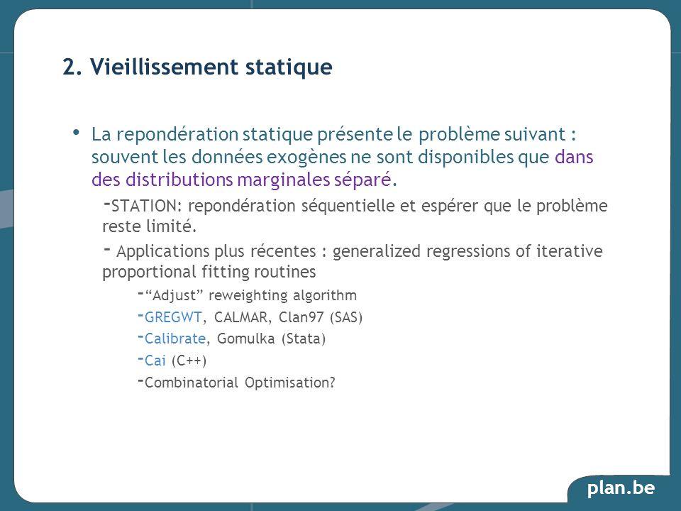 plan.be La repondération statique présente le problème suivant : souvent les données exogènes ne sont disponibles que dans des distributions marginale