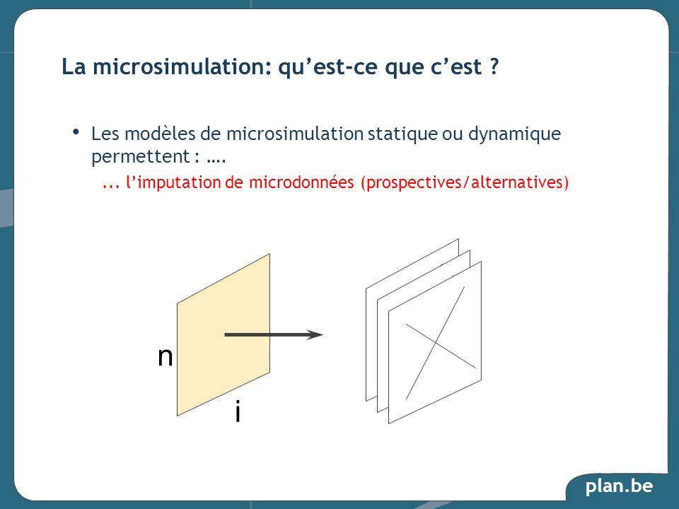 plan.be Les modèles de microsimulation statique ou dynamique permettent : ….... limputation de microdonnées (prospectives/alternatives) La microsimula