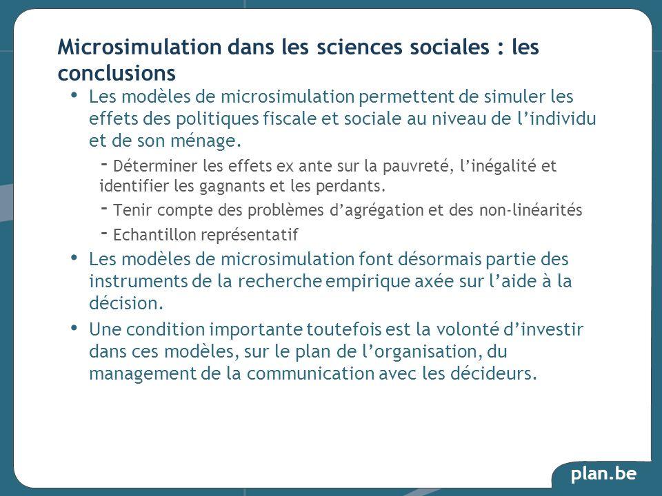 plan.be Les modèles de microsimulation permettent de simuler les effets des politiques fiscale et sociale au niveau de lindividu et de son ménage. - D