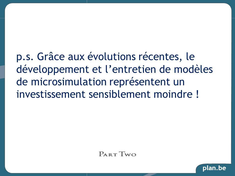 plan.be p.s. Grâce aux évolutions récentes, le développement et lentretien de modèles de microsimulation représentent un investissement sensiblement m