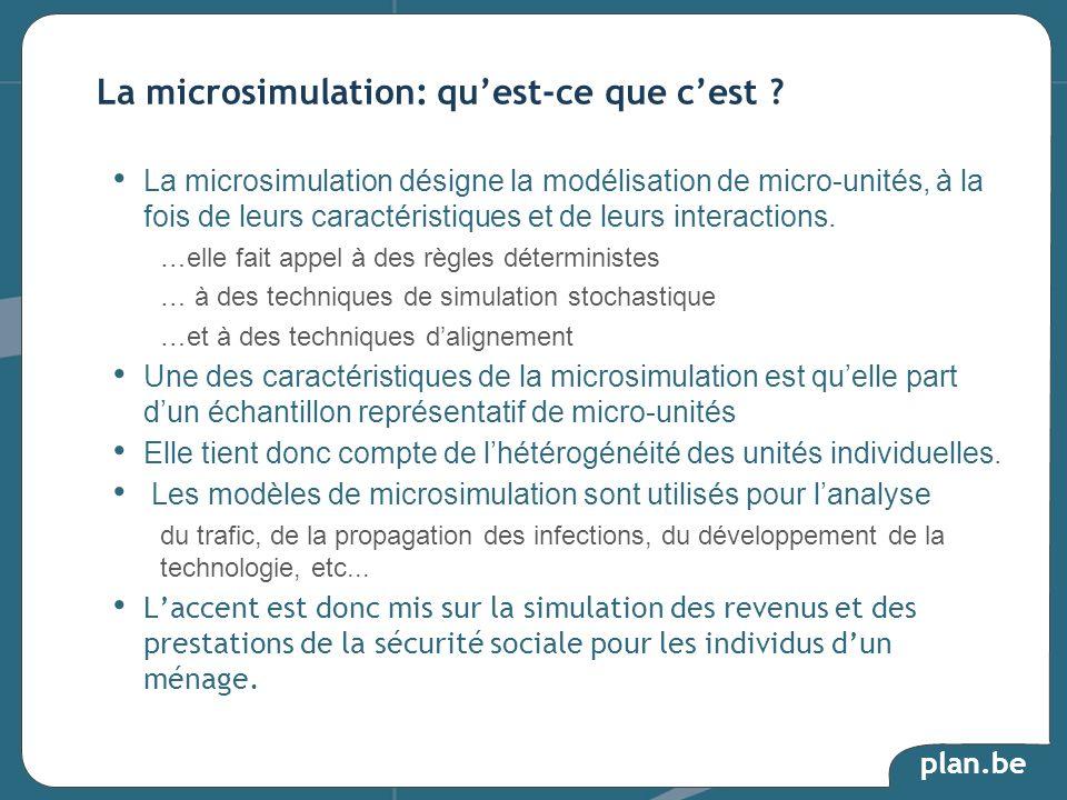 plan.be La microsimulation désigne la modélisation de micro-unités, à la fois de leurs caractéristiques et de leurs interactions. …elle fait appel à d