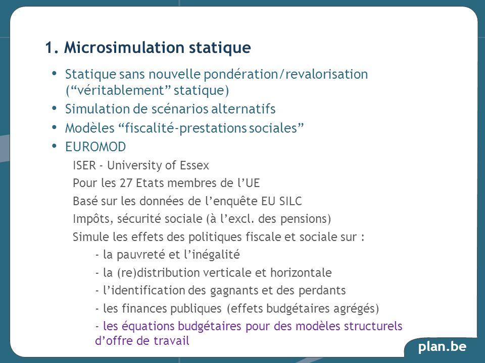 plan.be Statique sans nouvelle pondération/revalorisation (véritablement statique) Simulation de scénarios alternatifs Modèles fiscalité-prestations s