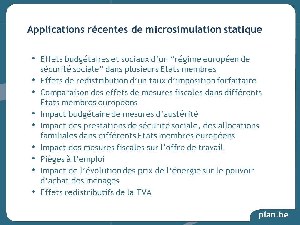 plan.be Effets budgétaires et sociaux dun régime européen de sécurité sociale dans plusieurs Etats membres Effets de redistribution dun taux dimpositi