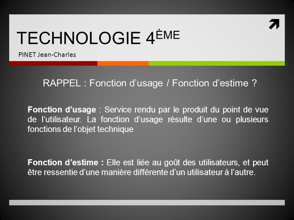 TECHNOLOGIE 4 ÈME PINET Jean-Charles RAPPEL : Fonction dusage / Fonction destime ? Fonction dusage : Service rendu par le produit du point de vue de l