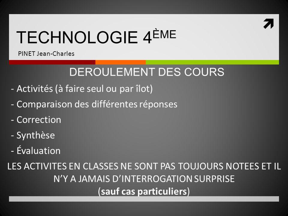 TECHNOLOGIE 4 ÈME PINET Jean-Charles - Activités (à faire seul ou par îlot) DEROULEMENT DES COURS - Comparaison des différentes réponses - Correction