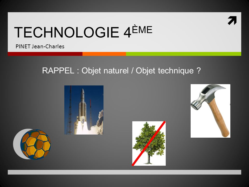 TECHNOLOGIE 4 ÈME PINET Jean-Charles Lobjet naturel est non modifié par lhomme.