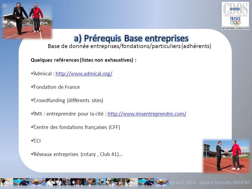 10 avril 2014 - Espace Dewailly AMIENS Base de donnée entreprises/fondations/particuliers (adhérents) Quelques reférences (listes non exhaustives) : A
