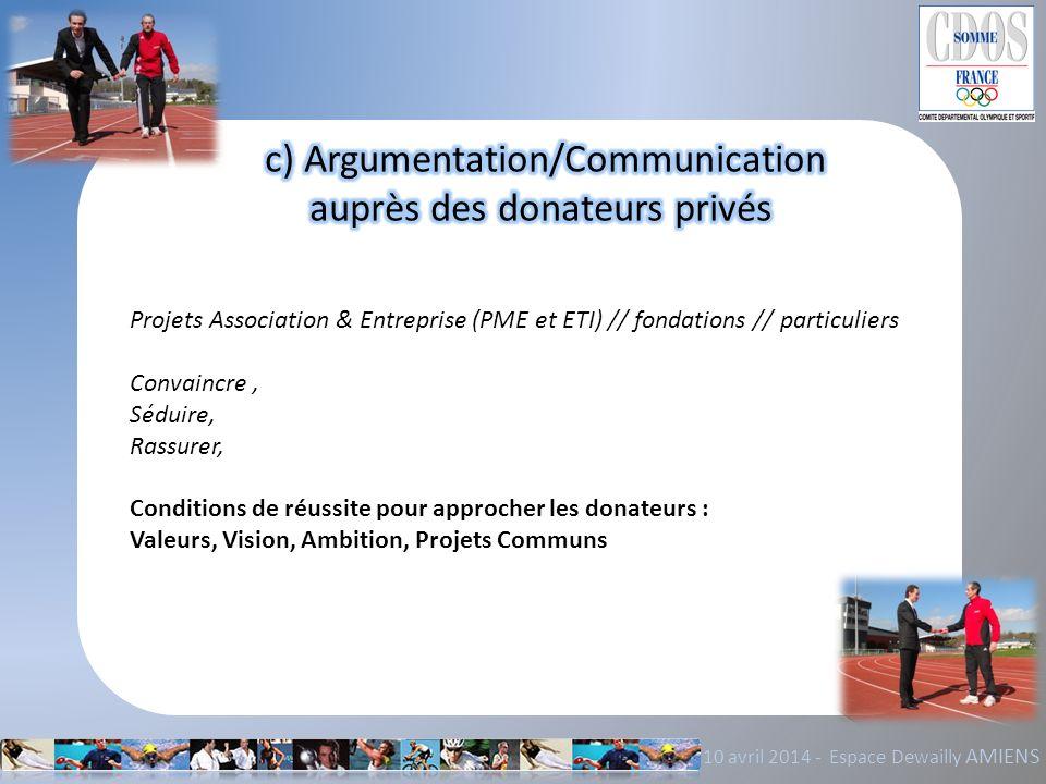 10 avril 2014 - Espace Dewailly AMIENS Projets Association & Entreprise (PME et ETI) // fondations // particuliers Convaincre, Séduire, Rassurer, Cond
