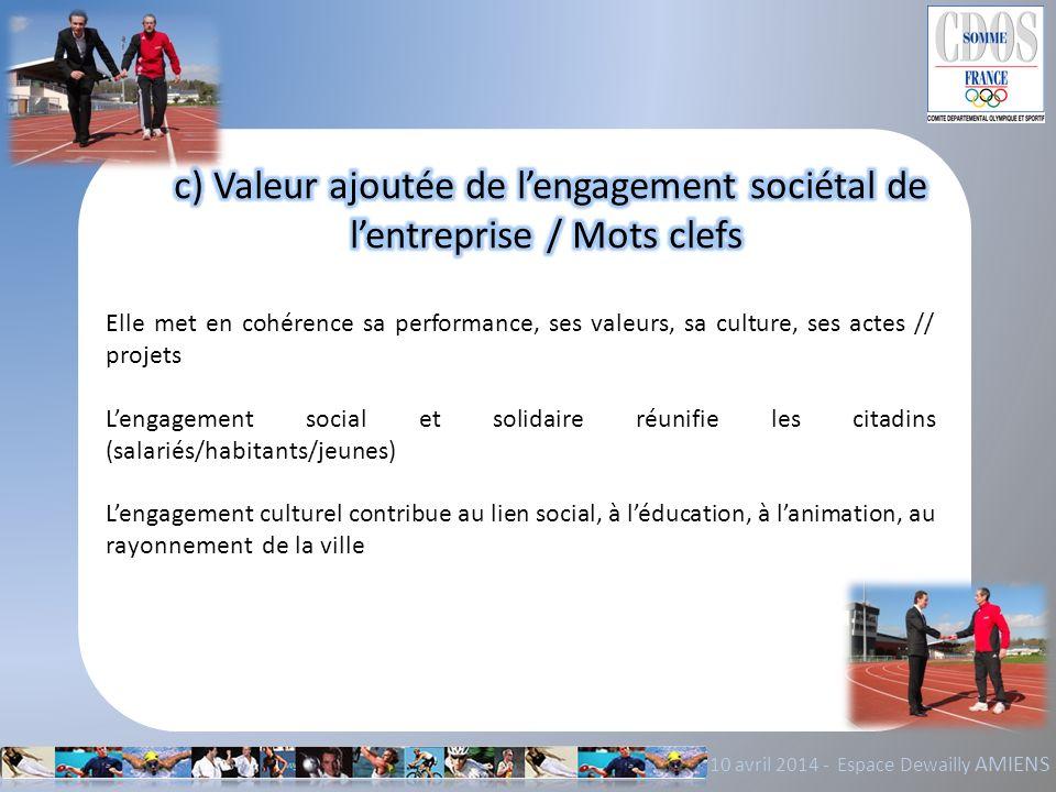 10 avril 2014 - Espace Dewailly AMIENS Elle met en cohérence sa performance, ses valeurs, sa culture, ses actes // projets Lengagement social et solid