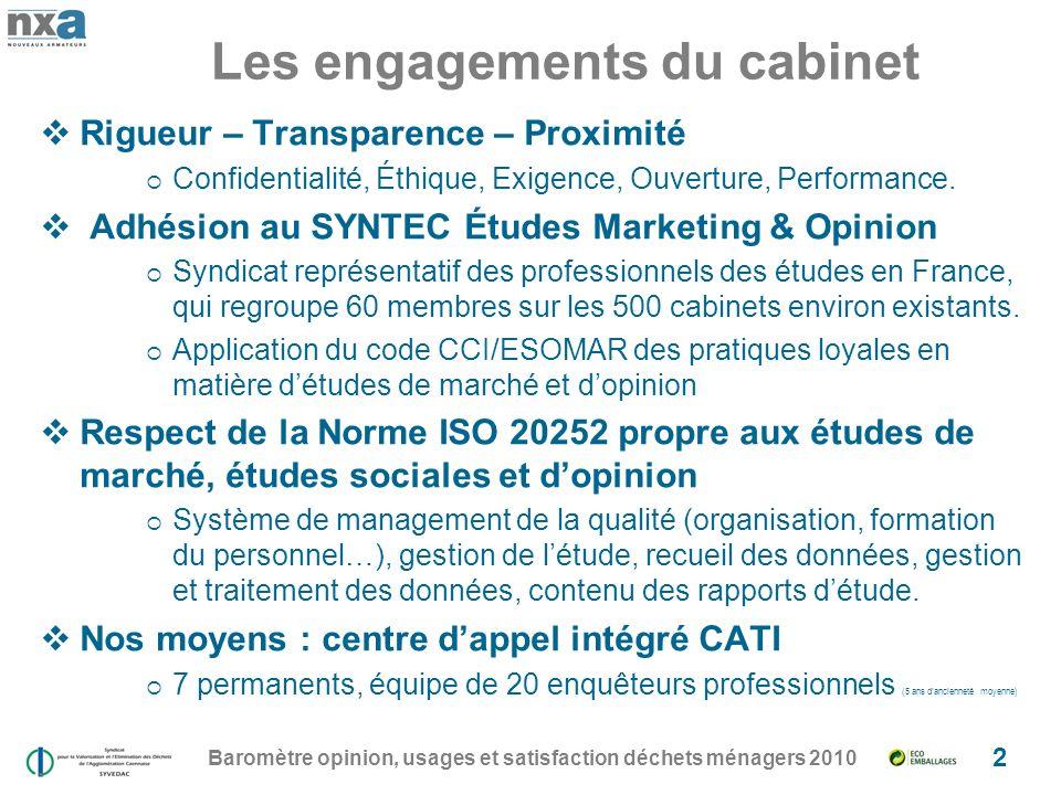 Les engagements du cabinet Baromètre opinion, usages et satisfaction déchets ménagers 2010 2 Rigueur – Transparence – Proximité Confidentialité, Éthique, Exigence, Ouverture, Performance.