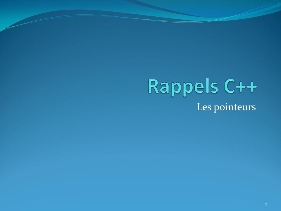 Rappels… Exemples de bugs : 12 4ABF 4AC0 4ABE 23A9 23AA 23A8 p int *p; int *q; p=new int; q=p; *p=6; delete p; cout<<*q; F3DE 0F4D 23A7 23A6 23A5 23A4 Prog BSS Tas 6 23A8 q