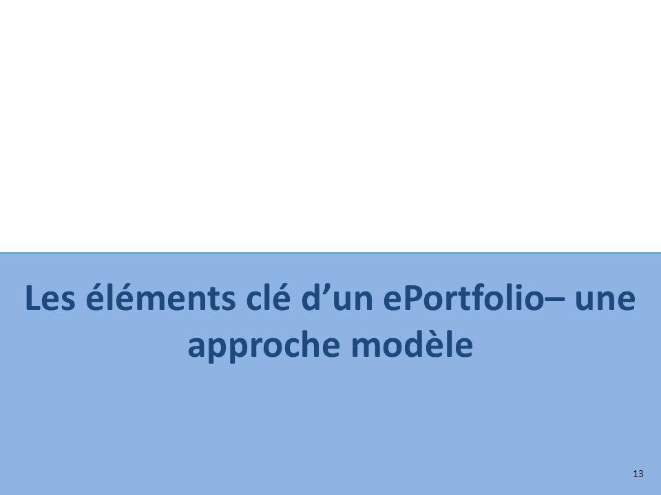 Les éléments clé dun ePortfolio– une approche modèle 13