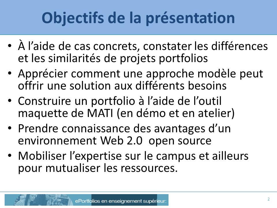 Objectifs de la présentation À laide de cas concrets, constater les différences et les similarités de projets portfolios Apprécier comment une approch