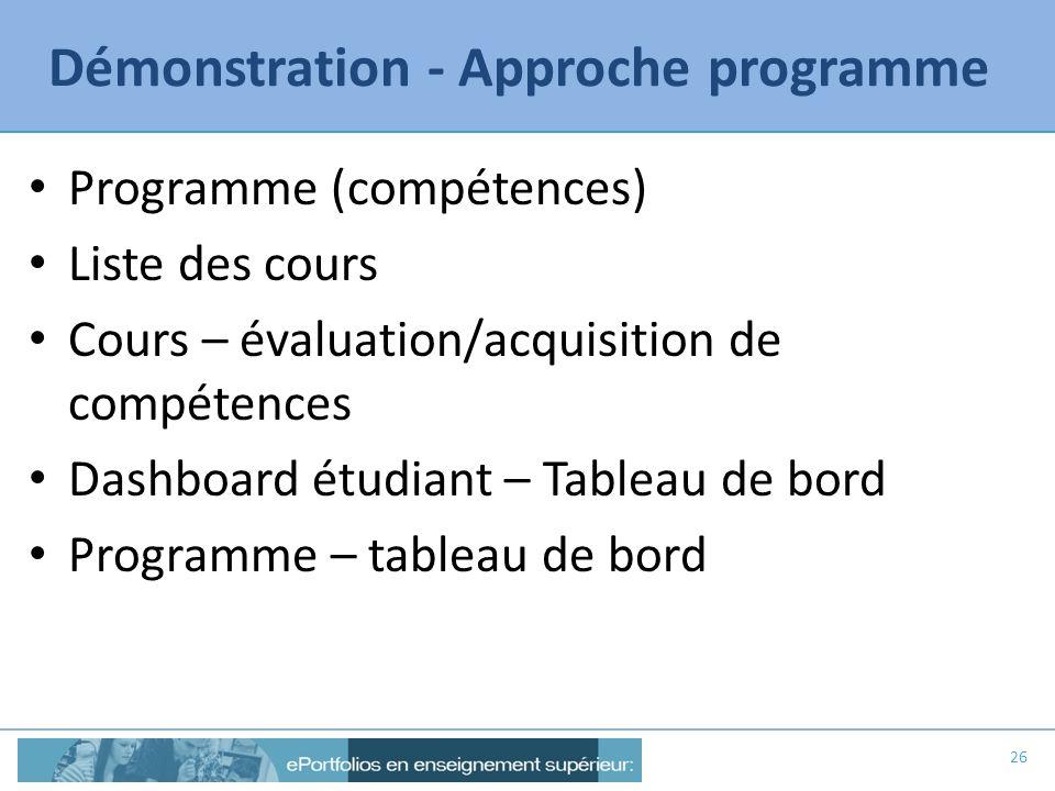 Démonstration - Approche programme Programme (compétences) Liste des cours Cours – évaluation/acquisition de compétences Dashboard étudiant – Tableau