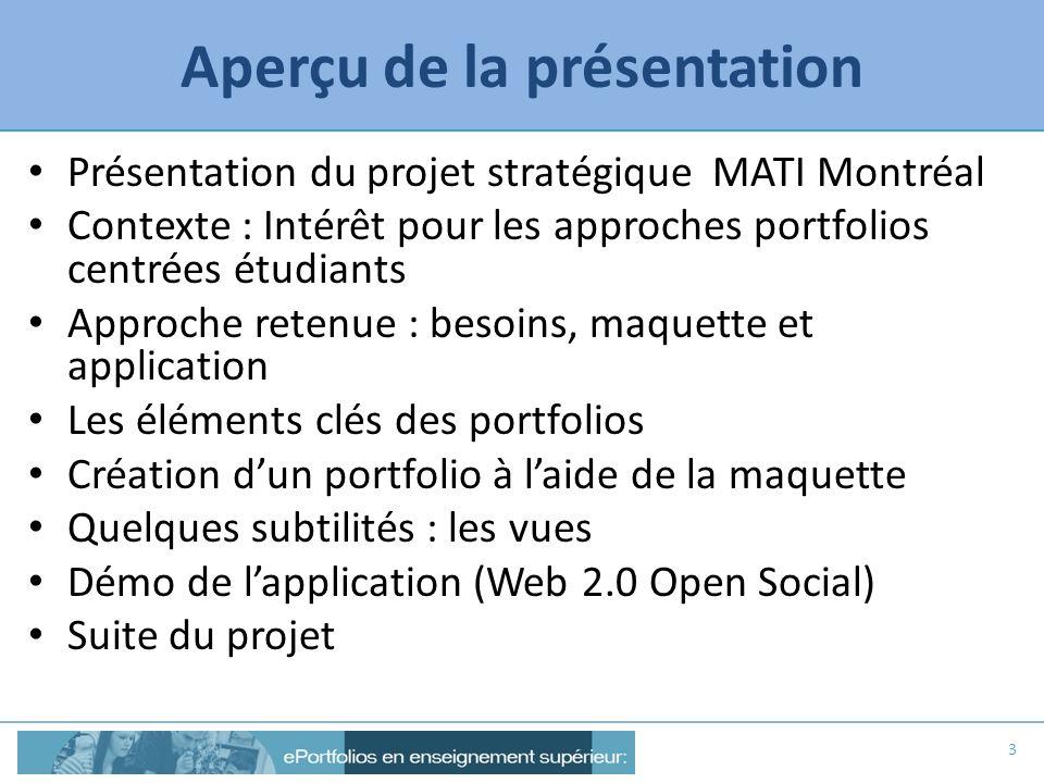 Aperçu de la présentation Présentation du projet stratégique MATI Montréal Contexte : Intérêt pour les approches portfolios centrées étudiants Approch