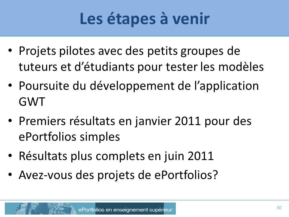 Les étapes à venir Projets pilotes avec des petits groupes de tuteurs et détudiants pour tester les modèles Poursuite du développement de lapplication