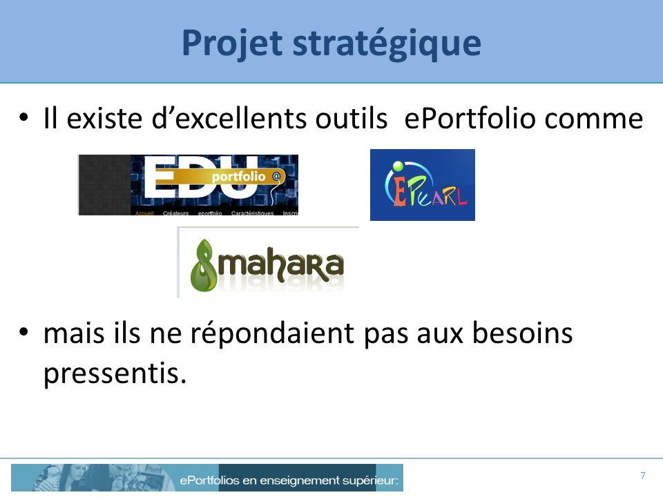 Projet stratégique Il existe dexcellents outils ePortfolio comme mais ils ne répondaient pas aux besoins pressentis. 7