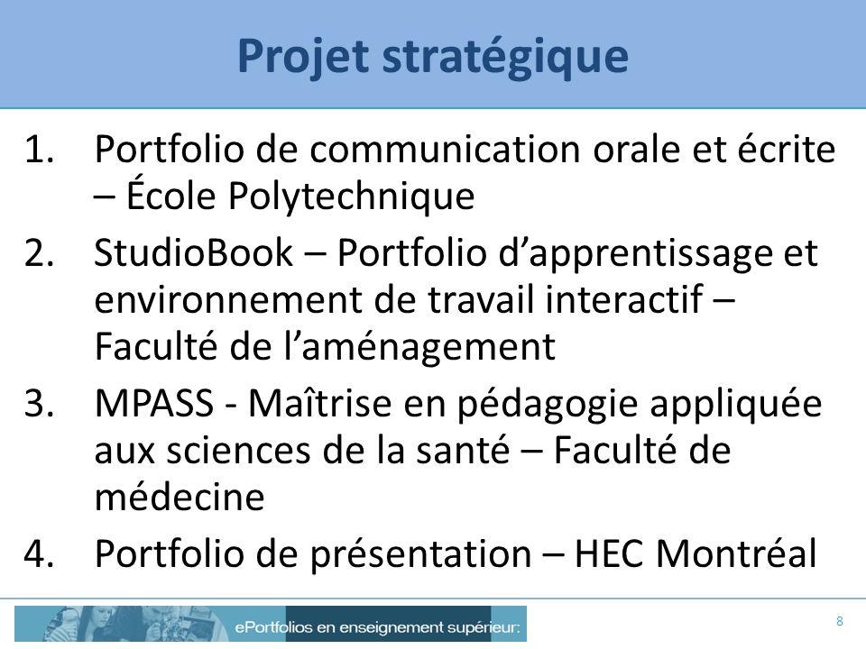 Projet stratégique 1.Portfolio de communication orale et écrite – École Polytechnique 2.StudioBook – Portfolio dapprentissage et environnement de trav