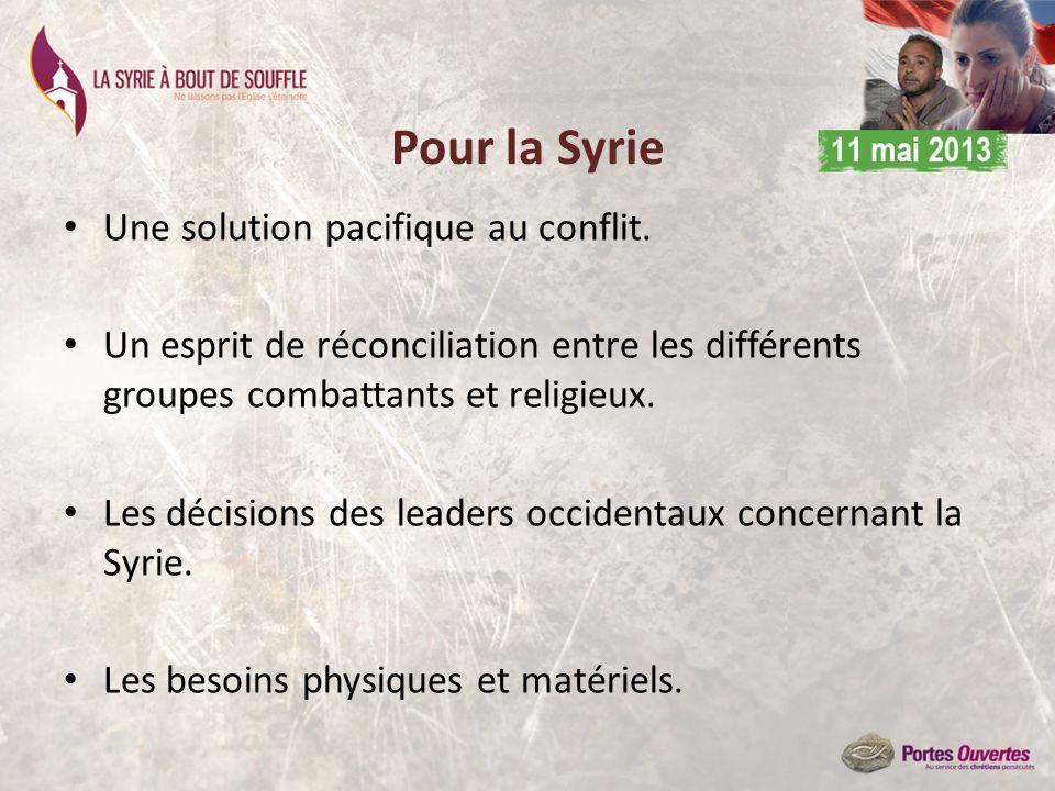 Pour la Syrie Une solution pacifique au conflit. Un esprit de réconciliation entre les différents groupes combattants et religieux. Les décisions des