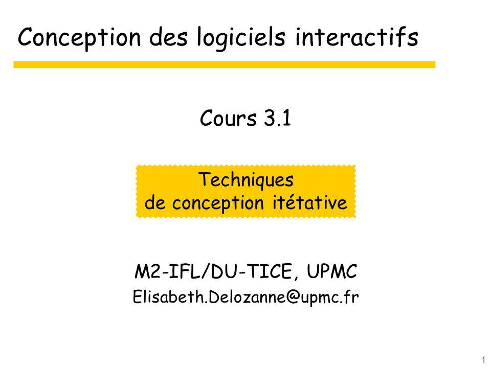1 Conception des logiciels interactifs M2-IFL/DU-TICE, UPMC Elisabeth.Delozanne@upmc.fr Techniques de conception itétative Cours 3.1