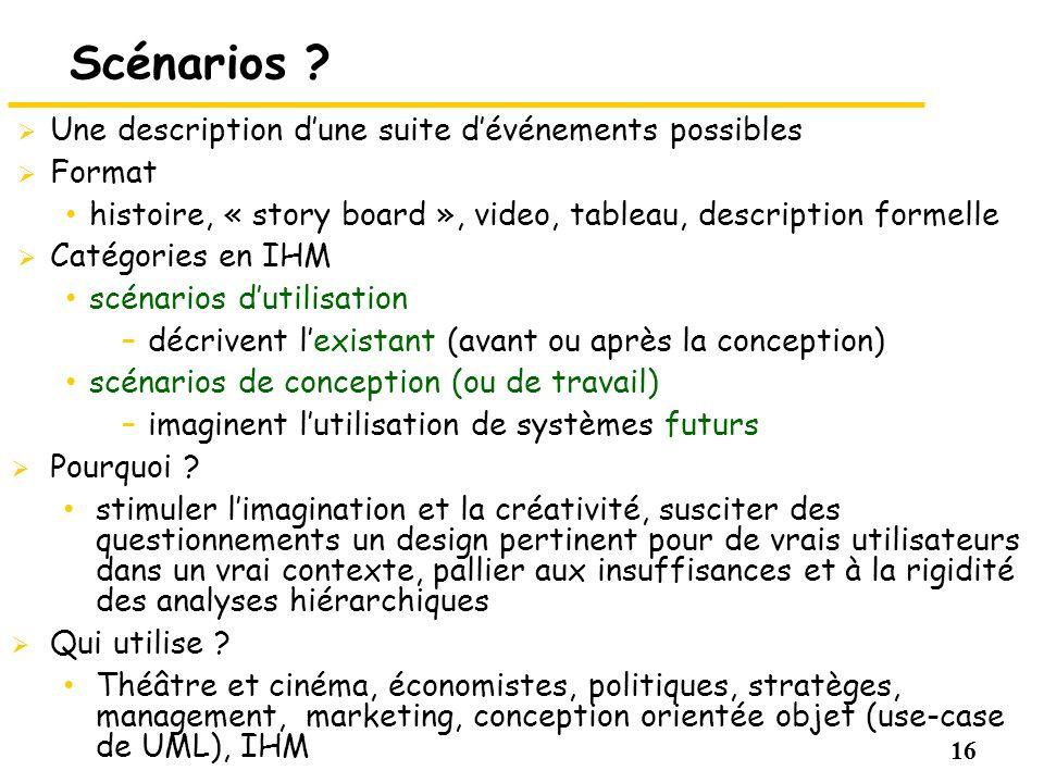 16 Scénarios ? Une description dune suite dévénements possibles Format histoire, « story board », video, tableau, description formelle Catégories en I