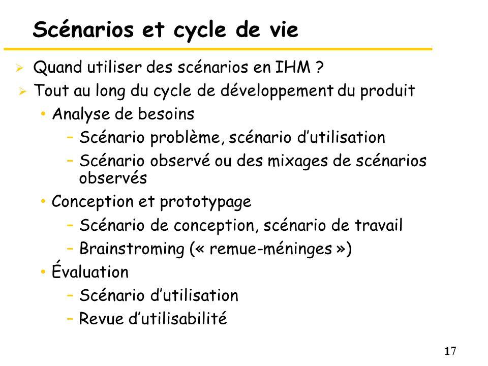 17 Scénarios et cycle de vie Quand utiliser des scénarios en IHM ? Tout au long du cycle de développement du produit Analyse de besoins –Scénario prob