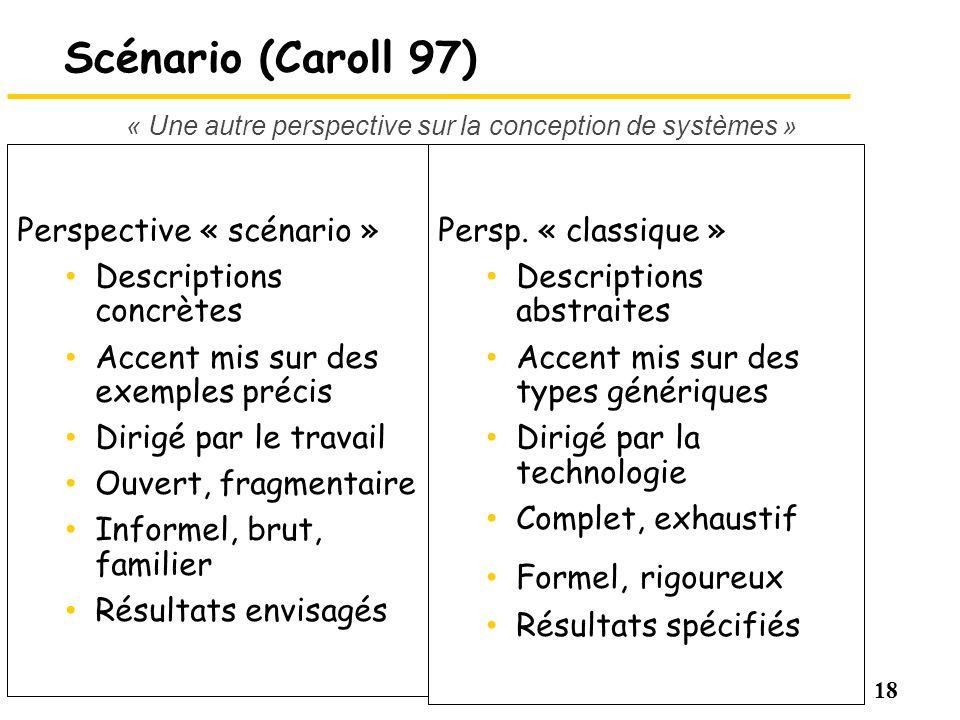 18 Scénario (Caroll 97) Perspective « scénario » Descriptions concrètes Accent mis sur des exemples précis Dirigé par le travail Ouvert, fragmentaire