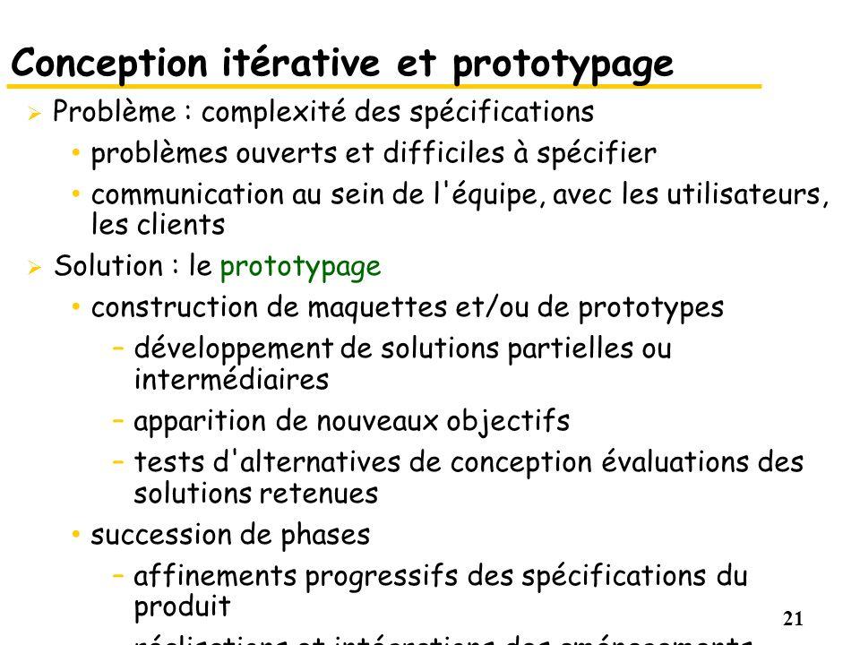 21 Conception itérative et prototypage Problème : complexité des spécifications problèmes ouverts et difficiles à spécifier communication au sein de l