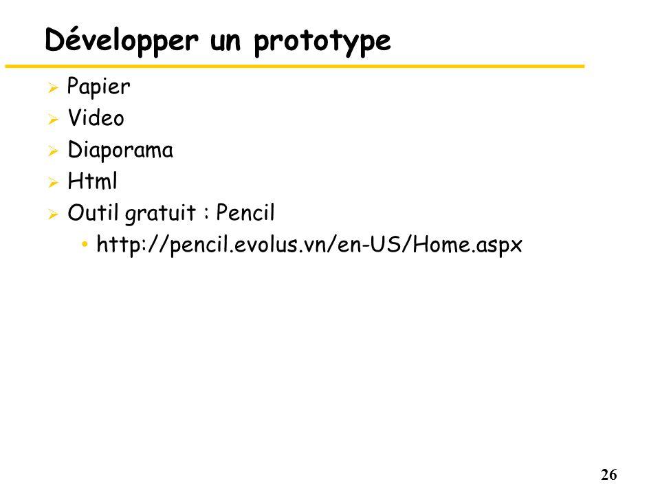 26 Développer un prototype Papier Video Diaporama Html Outil gratuit : Pencil http://pencil.evolus.vn/en-US/Home.aspx
