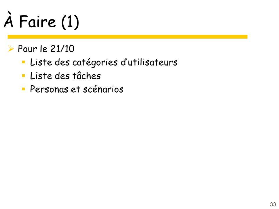 À Faire (1) Pour le 21/10 Liste des catégories dutilisateurs Liste des tâches Personas et scénarios 33