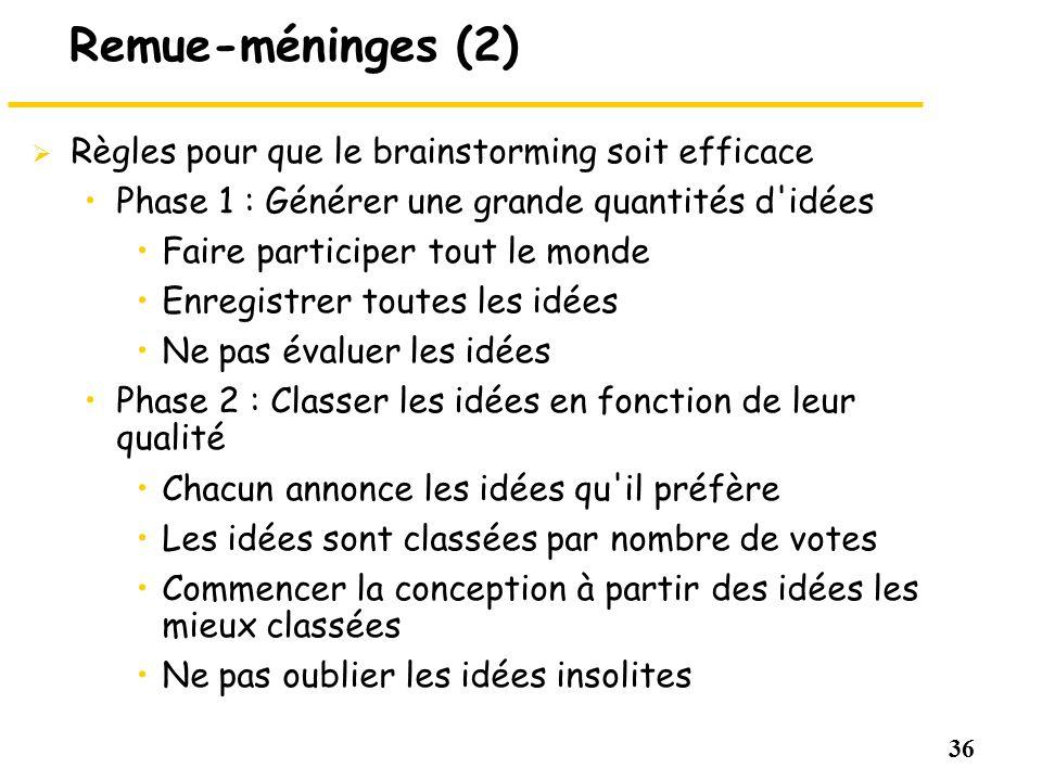 36 Remue-méninges (2) Règles pour que le brainstorming soit efficace Phase 1 : Générer une grande quantités d'idées Faire participer tout le monde Enr