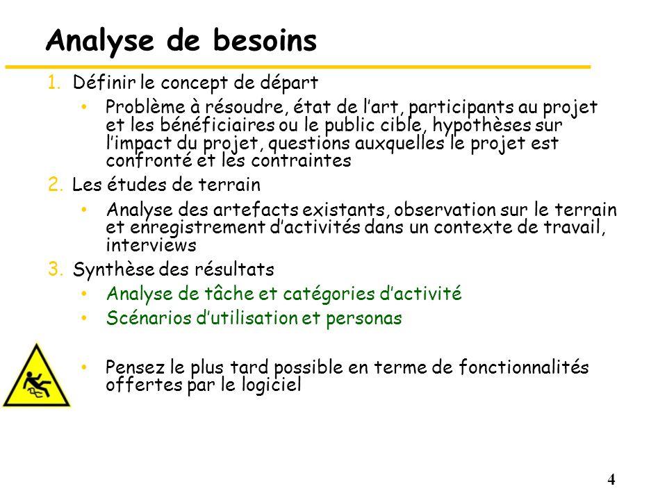 4 Analyse de besoins 1. Définir le concept de départ Problème à résoudre, état de lart, participants au projet et les bénéficiaires ou le public cible