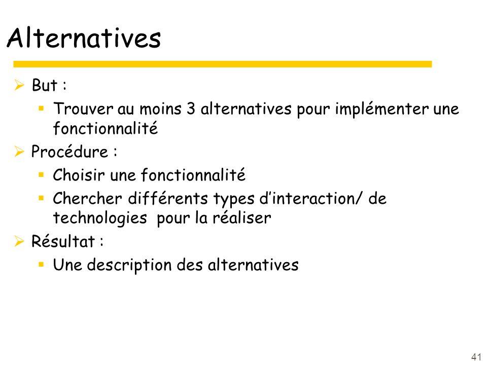 Alternatives But : Trouver au moins 3 alternatives pour implémenter une fonctionnalité Procédure : Choisir une fonctionnalité Chercher différents type