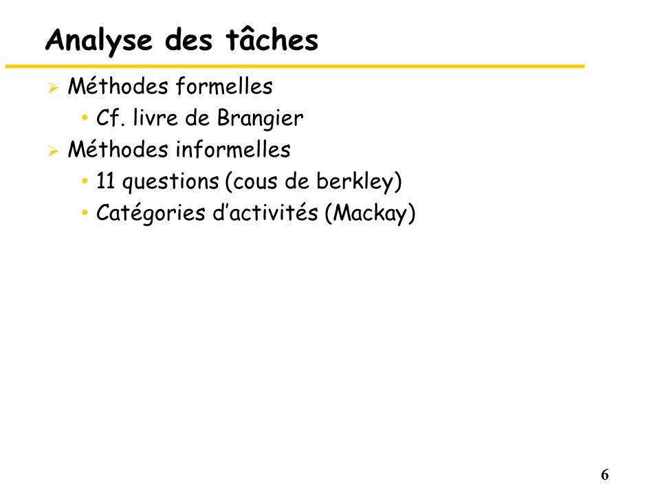 6 Analyse des tâches Méthodes formelles Cf. livre de Brangier Méthodes informelles 11 questions (cous de berkley) Catégories dactivités (Mackay)