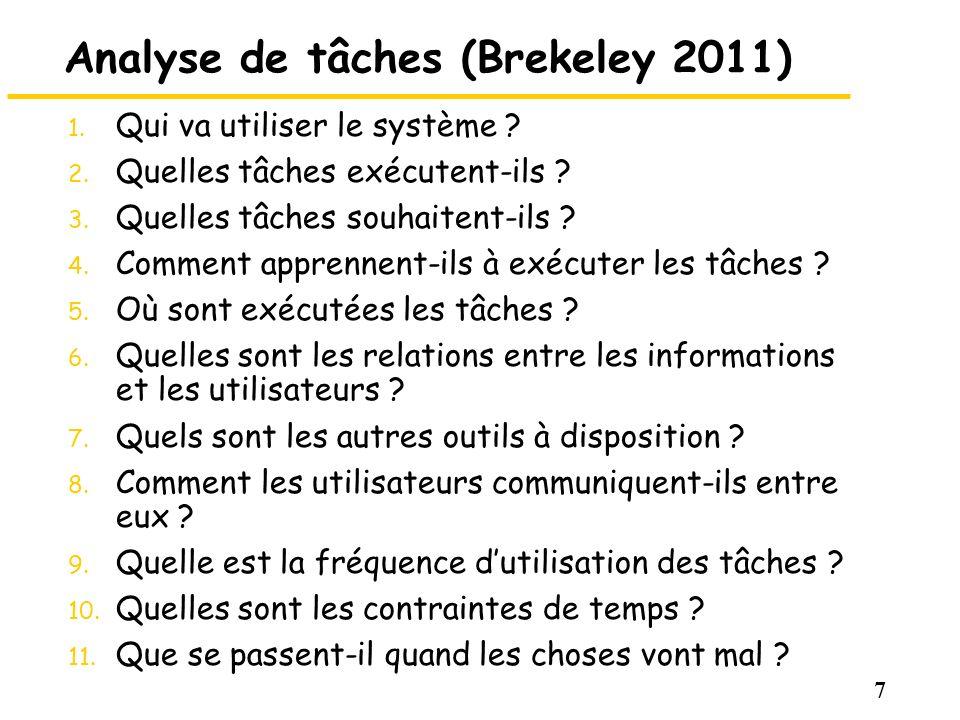 7 Analyse de tâches (Brekeley 2011) 1. Qui va utiliser le système ? 2. Quelles tâches exécutent-ils ? 3. Quelles tâches souhaitent-ils ? 4. Comment ap