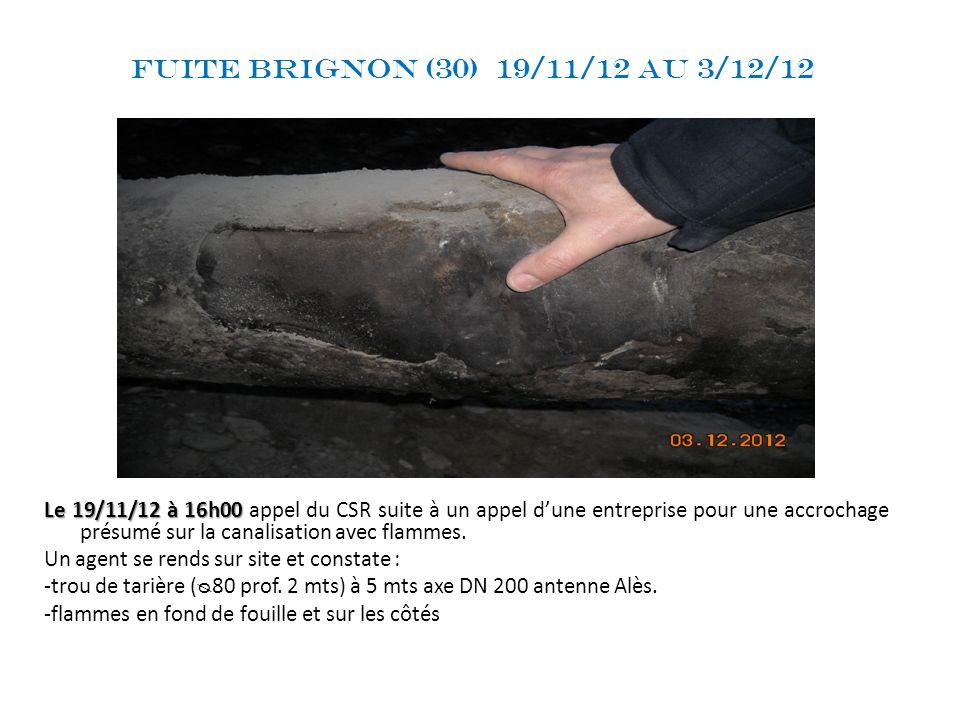 Fuite Brignon (30) 19/11/12 au 3/12/12 Le 19/11/12 à 16h00 Le 19/11/12 à 16h00 appel du CSR suite à un appel dune entreprise pour une accrochage présu