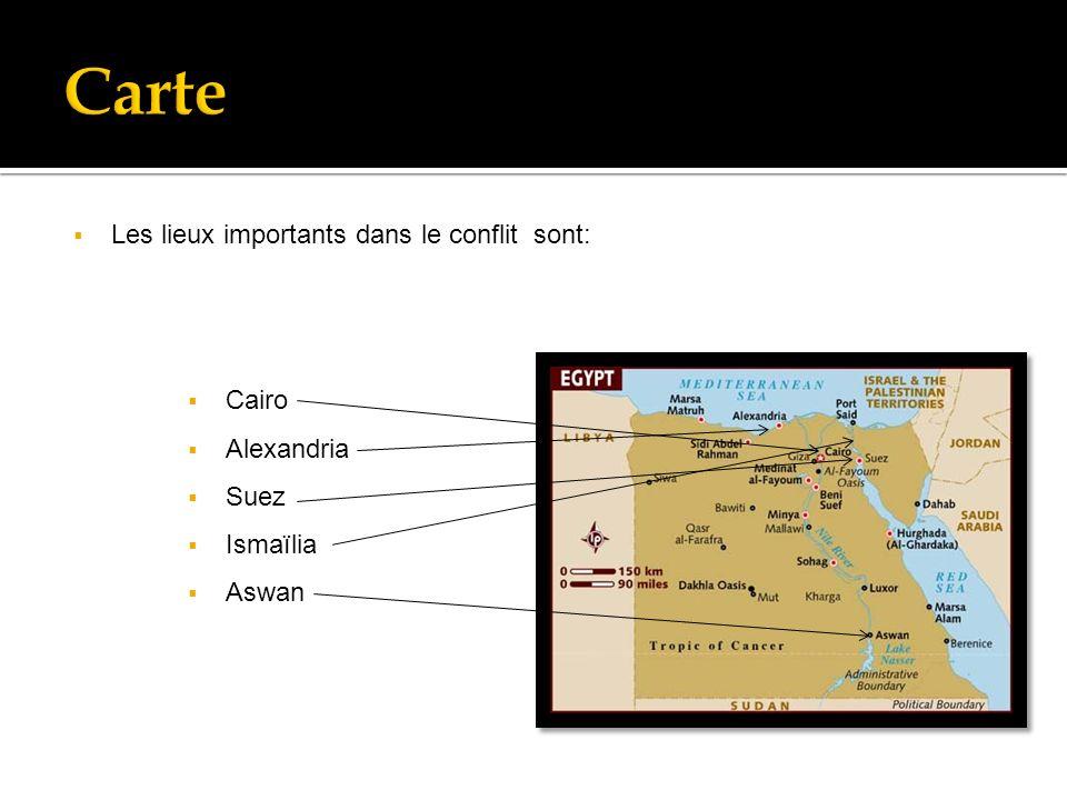 Les lieux importants dans le conflit sont: Cairo Alexandria Suez Ismaïlia Aswan